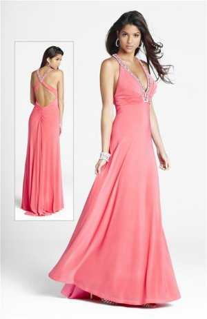 pink  V  Neck  Beaded  A-line  prom dress