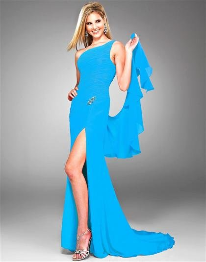 Sky  Blue  chifion  one  shoulder  sexy  evening dress