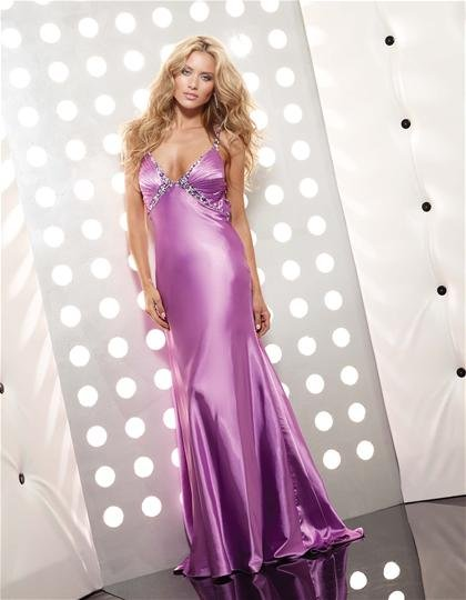 Sexy  V  Neck  beaded  A-line    evening  dress