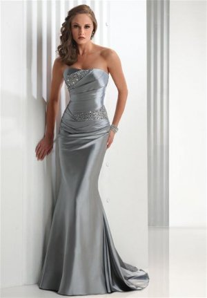 2011 Hot selling  Fan-shaped  Beaded  evening dress