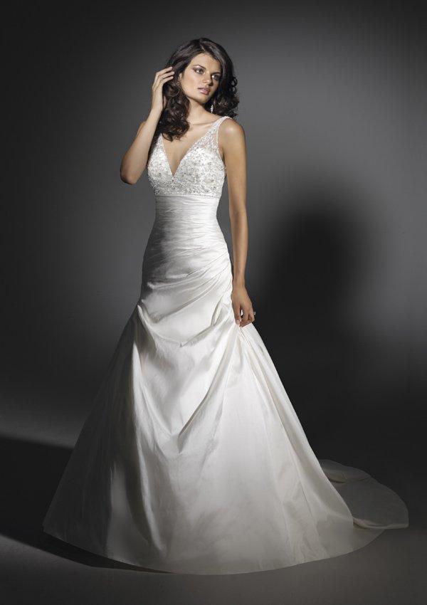 V  Neck  Embroidered  Lace   A-line wedding dress