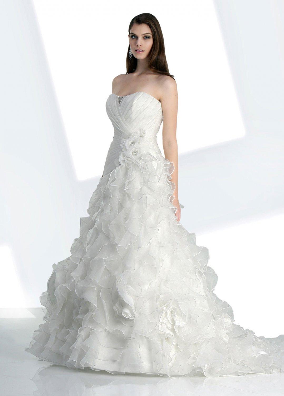 Riching  ruffle  fan shaped  A-line  wedding  dress