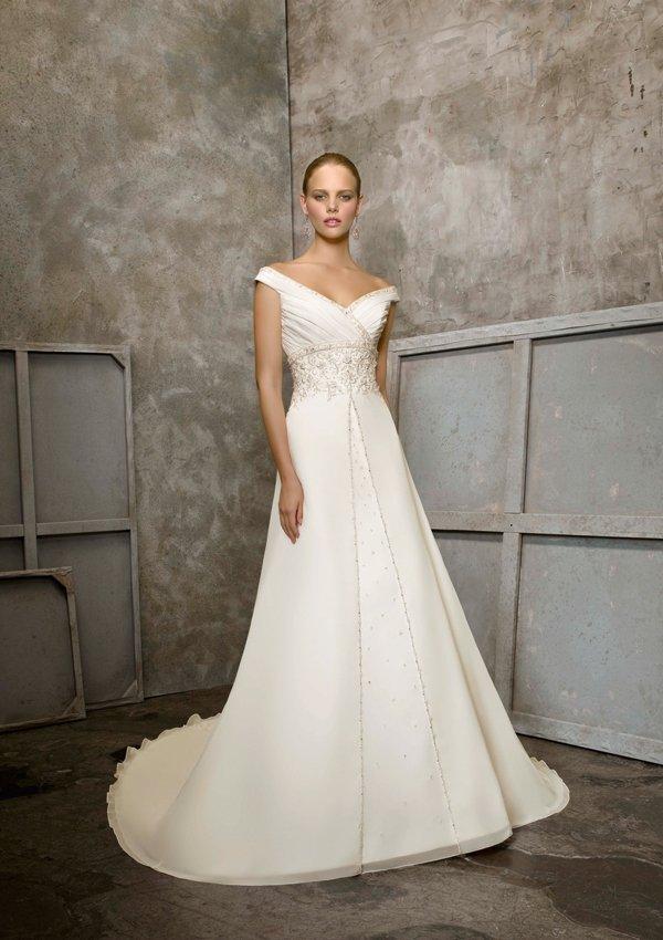 off-shoulder  V  Neck  Beaded  A-line wedding dress