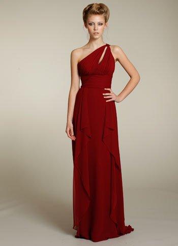 Long  one shoulder  straps  ruching  bridesmaid  dress