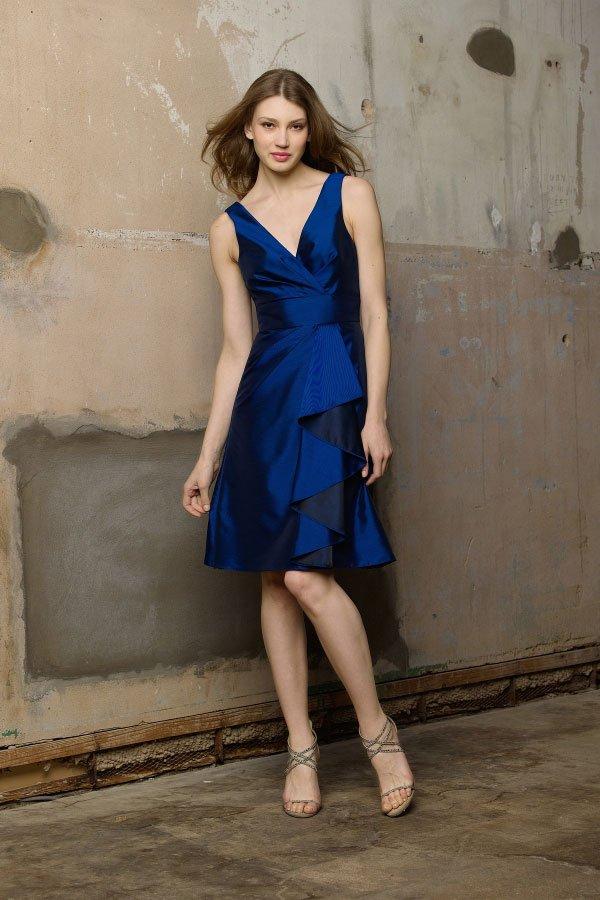Royal  Blue  Deep  V Neck  Bridesmaid  dress