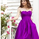 Purple  Designer  strapless  bridesmaid  dress