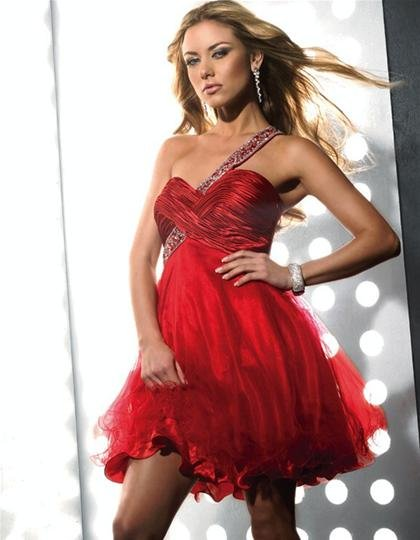 New  Arrival  One  shoulder  Sweatheart  Beaded  A-line  cocktail  dress