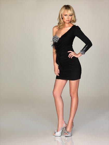 Single  shoulder  Sweatheart  Black beaded  cocktail  dress