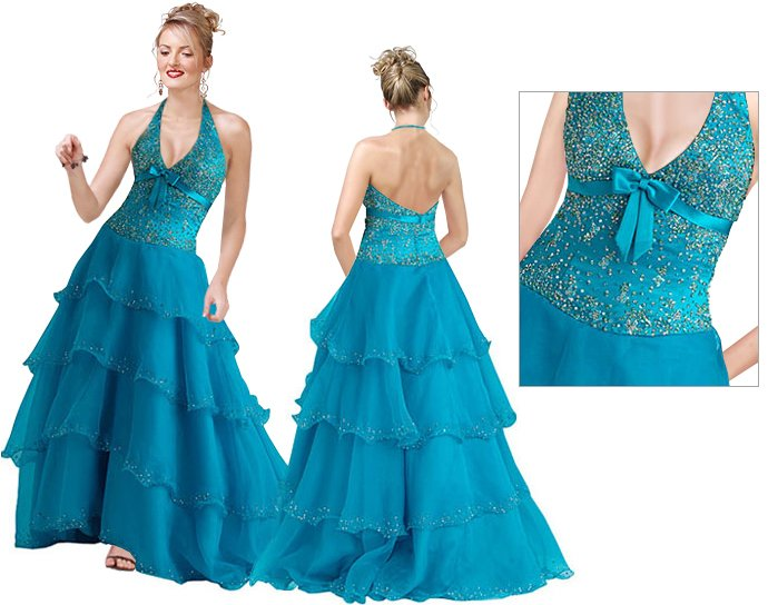 Halter Sequined Bodice Ball Gown   Prom dress
