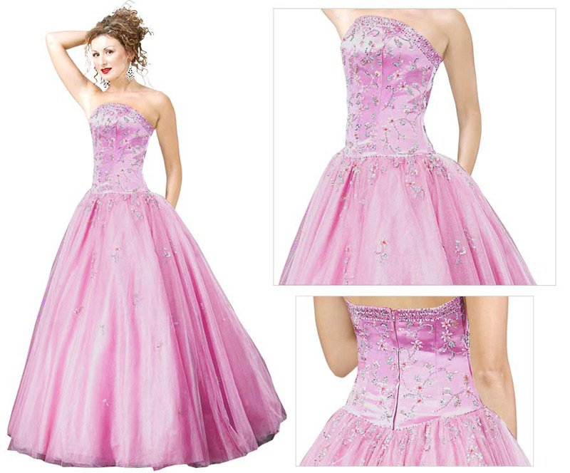 Satin Organza Embroidered Ball Gown  prom drress