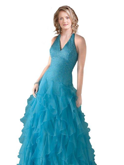 V- neck Ruffled Ball Gown  prom dress