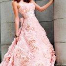 Long elegant strapless dress with rose embellishments PROM dress