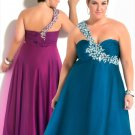 2012  Plus  SIze Sweatheart Beaded one  Shoulder  Prom dress
