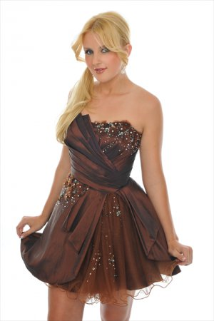 Strapless  Beaded  short  taffeta  cocktail  dress