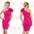 Feminine One Shoulder Pink Cocktail Dress