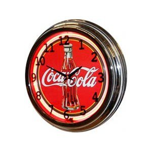"Coca-Cola 17"" Contour Bottle Neon Clock Plastic Case"