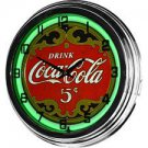 Nostalgic Coca-Cola 5-cents 17-inch Neon Green Wall Clock