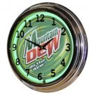 Nostalgic Mountain Dew 17-inch Neon Green Wall Clock