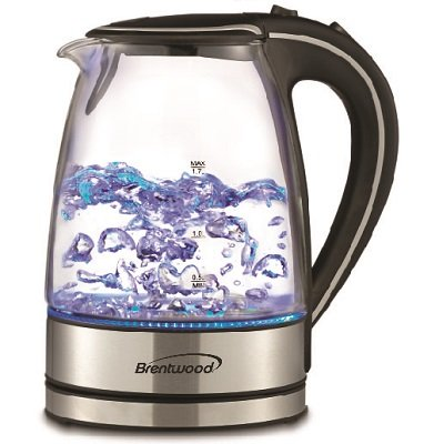 Brentwood KT-1900BK Tempered Glass Tea Kettles, 1.7-Liter, Black