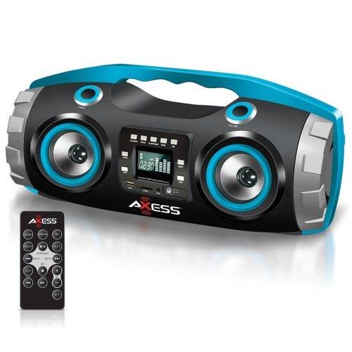 AXESS Axess PBBT2709 Portable Bluetooth FM Radio/CD/MP3/USB/SD Heavy Bass Boombox Blue
