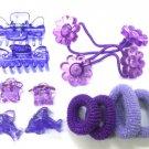 hair accessories purple star dolphin clip claw flower hair band set