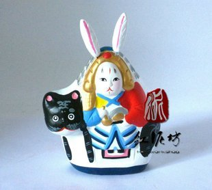 Hand Painted Clay Doll a66024-1 rabbit