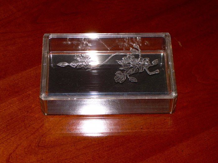 Trinket Box Lucite Acrylic Dogwood Vanity Dresser Jewel