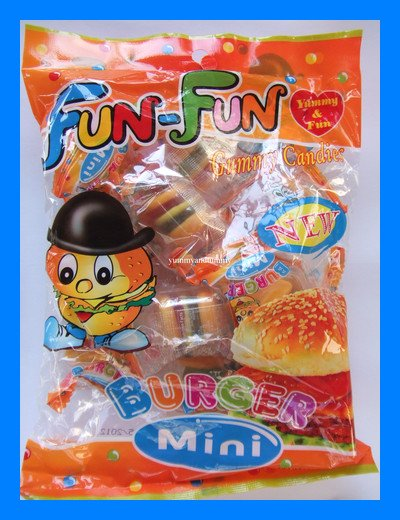 MINI BURGER GUMMY CHEWY CANDY - USA SELLER