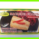 4 CANS MACKEREL FISH FILLETS w/ CHILI IN SOYBEAN OIL -BONELESS