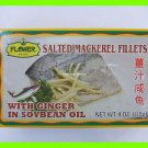 4 CANS SALTED MACKEREL FILLETS FISH w/ GINGER IN SOYBEAN OIL