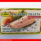 4 CANS MACKEREL FISH FILLETS GREEN PEPPERCORN IN SOYBEAN OIL