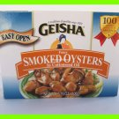 4 CANS GEISHA FANCY SMOKED OYSTERS IN COTTONSEED OIL - US SHIP