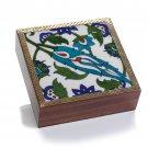 Blue Floral Tile Shesham Wood Keepsake Box Home Decor Decorative Boxes