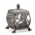 Decorative Box Aquamarine Gems Beads Collection Antique Silver Finish Boxes