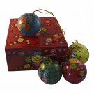 4 Paper Mache Holiday Ornaments w Keepsake Box Handcrafted Hand Painted Boxes