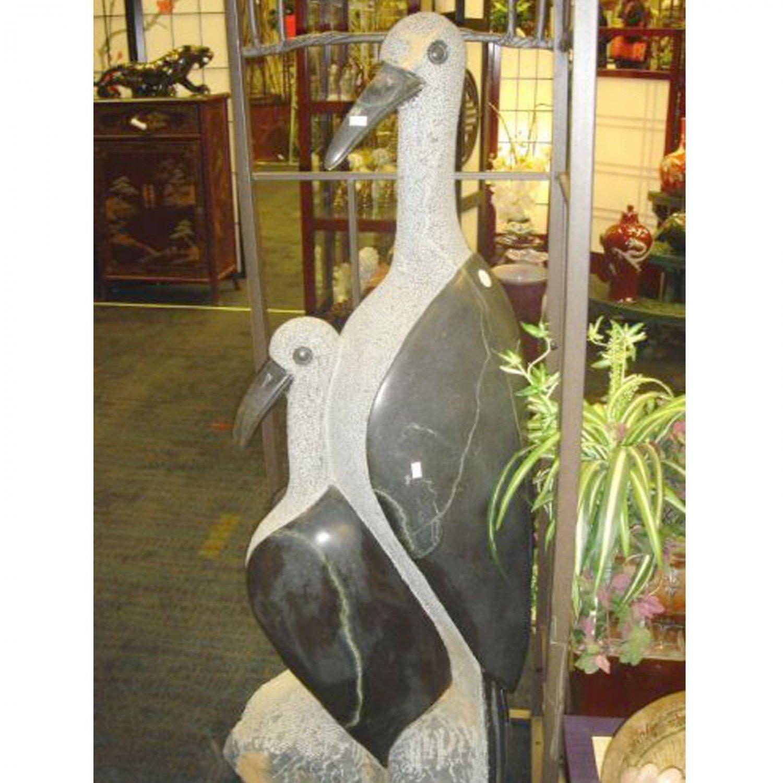 Shona Art Long Neck Birds Stone Statue African Artist Signed Sculpture Bird Art