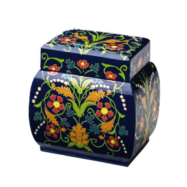 Keepsake Box Colorful Blue Bombe Decorative Lidded Boxes Hand Painted Home Decor