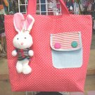 Handmade Handbag - Red with Bunny