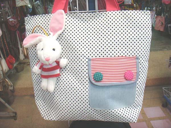 Handmade Handbag - Polk-a-Dot with Bunny