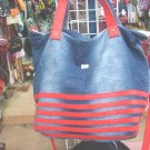 Handmade Handbag - Blue with Red Stripes