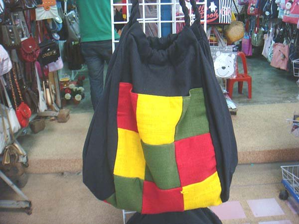 Handmade Handbag - Red, Yellow and Green Squares