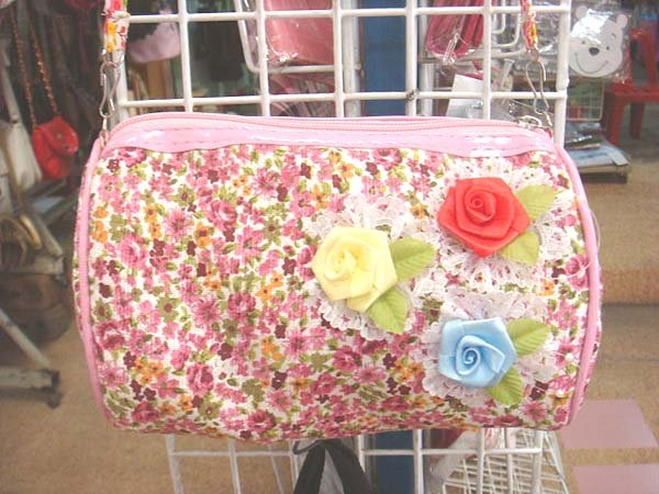 Handmade Purse - Pink with Roses