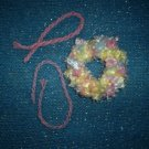 Soft Fuzzy Scrunchi & Two Friendship Bracelets in Pastels, Hand made, New