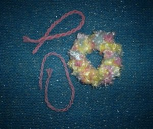 Soft Fuzzy Scrunchi & Two Friendship Bracelets in Pastels, Hand made, New