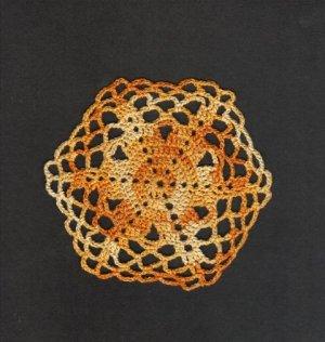 """Varigated Yellow & Orange Hand Crochet  Doily, 5"""", New"""