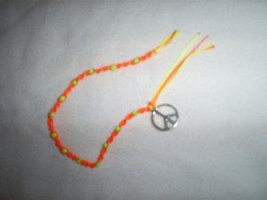 "8 1/2"" Macrame Neon Beaded Bracelet, Ankle Bracelet, ""Peace""New"