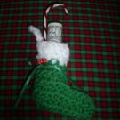 Hand Crochet Green Christmas Stocking with dice Ornament, New, Hand crochet