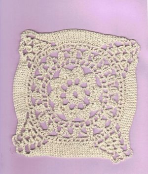 Vintage Hand Crochet Motif Doily, Seven Inches Square