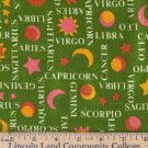 Cotton Fabric, Horoscope Design, New Condition, Vintage 80's