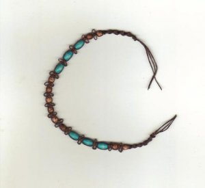 "Handmade 7 1/2"" Macrame Brown, Turquoise Wood Beaded Bracelet,  New"
